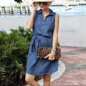 Sleeveless Chambray Blue Denim Shirt Midi Dress